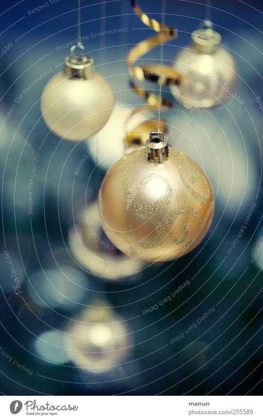 baubles Feasts & Celebrations Christmas & Advent Sign Sphere Christmas decoration Glitter Ball Blue Gold Festive Colour photo Interior shot Deserted