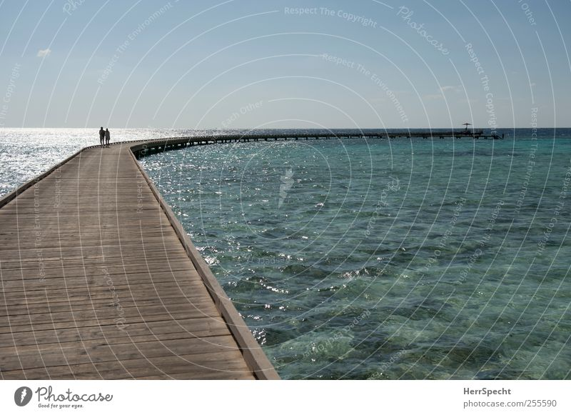 The footbridge is the way is the goal Vacation & Travel Tourism Far-off places Sun Beach Ocean Waves Couple 2 Human being Cloudless sky Beautiful weather Coast