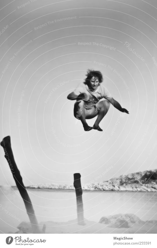 Human being Sky Nature Youth (Young adults) Ocean Summer Joy Adults Landscape Freedom Happy Jump Coast Power Masculine Adventure