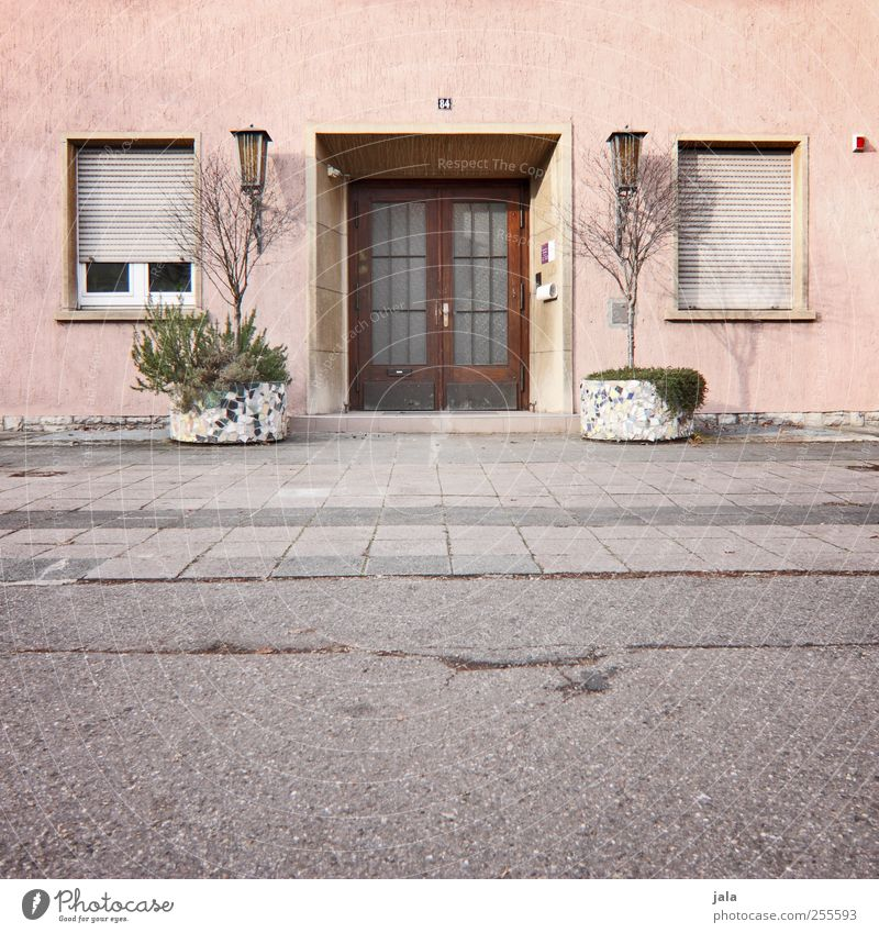 Plant House (Residential Structure) Window Wall (building) Architecture Gray Building Wall (barrier) Door Pink Facade Places Gloomy Manmade structures Roller shutter