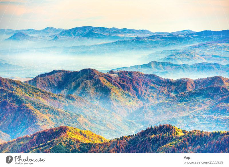 Landscape with colorful mountain ranges Beautiful Vacation & Travel Tourism Trip Adventure Far-off places Freedom Summer Sun Mountain Hiking Environment Nature