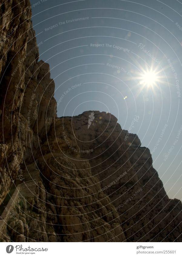 Sky Nature Sun Environment Landscape Mountain Stone Bright Earth Glittering Rock Perspective Star (Symbol) Illuminate Elements Climbing