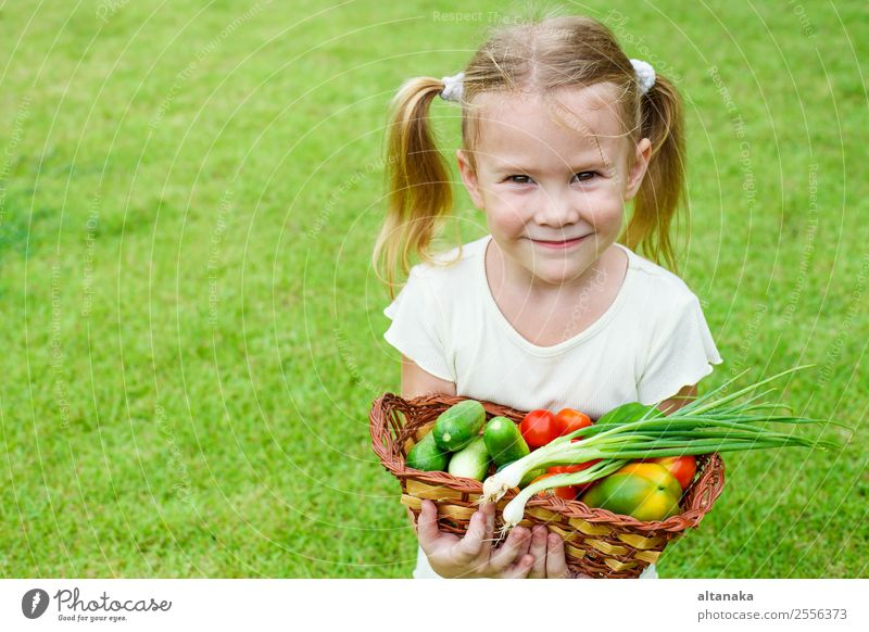 girl holding a basket of vegetables Vegetable Eating Lifestyle Happy Face Summer Garden Child Gardening Human being Woman Adults Family & Relations Infancy Hand