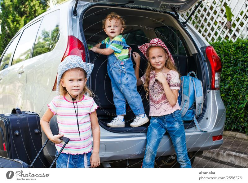 two little girls and boy standing near the car Joy Happy Relaxation Leisure and hobbies Vacation & Travel Tourism Trip Camping Summer Child Human being