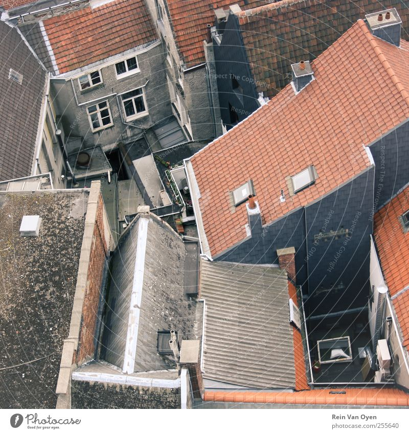 Topview Village Small Town Downtown Outskirts House (Residential Structure) Wall (barrier) Wall (building) Window Roof Eaves Chimney Blue Brown Red