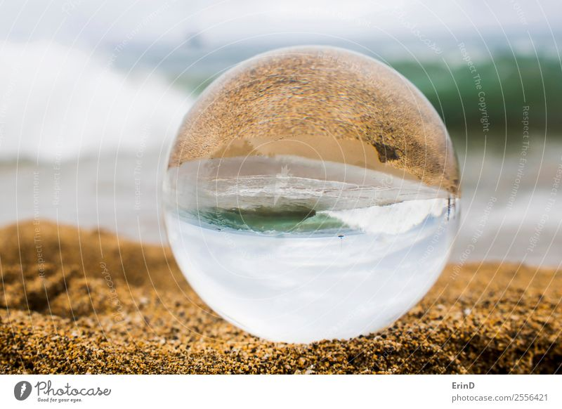Sand and Surf with Breaking Wave Captured in Glass Ball Beautiful Vacation & Travel Tourism Summer Beach Island Nature Landscape Horizon Weather Virgin forest