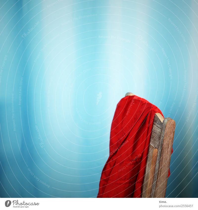 red dress resting Chair Drape Curtain Dress Hang Blue Red Emotions Passion Warm-heartedness Conscientiously Serene Patient Calm Endurance Curiosity Fatigue
