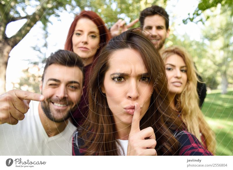Group of friends taking selfie in urban background Lifestyle Joy Happy Beautiful Leisure and hobbies PDA Human being Young woman Youth (Young adults) Young man