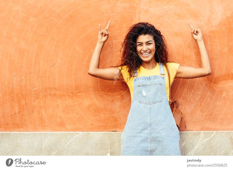 Funny black woman with black curly hairstyle Lifestyle Style Happy Beautiful Hair and hairstyles Face Tourism Human being Feminine Young woman