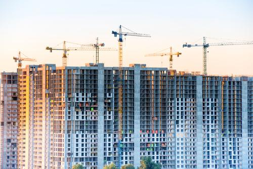 Construction site with building cranes Design Living or residing Flat (apartment) House (Residential Structure) Dream house House building Redecorate