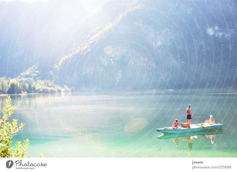 a summer like that... Joy Leisure and hobbies Fishing (Angle) Vacation & Travel Summer Sun Human being Masculine 3 Nature Landscape Water Beautiful weather