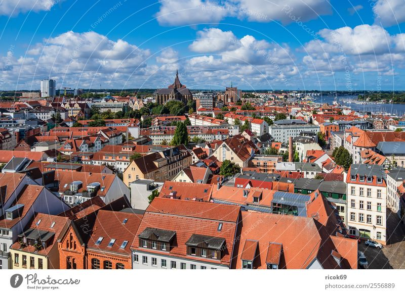View of the Hanseatic city of Rostock Relaxation Vacation & Travel Tourism House (Residential Structure) Clouds Tree River Town Building Architecture Roof