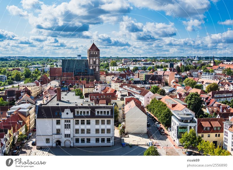 View of the Hanseatic city of Rostock Relaxation Vacation & Travel Tourism House (Residential Structure) Clouds Tree Town Building Architecture Roof Green Red