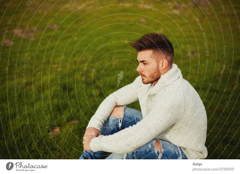 Attractive guy Lifestyle Style Human being Boy (child) Man Adults Landscape Grass Meadow Fashion Beard Think Cool (slang) Eroticism Hip & trendy Modern Strong