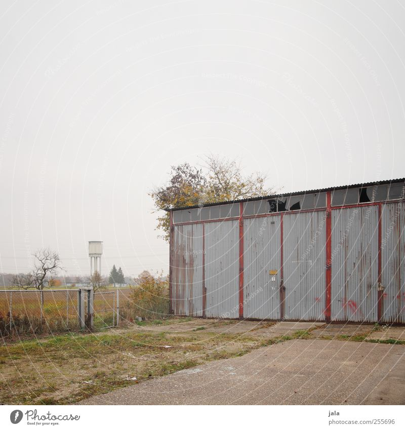 garage Sky Autumn Plant Tree Grass Bushes Places Manmade structures Building Water tower Garage Garage door Gloomy Colour photo Exterior shot Deserted