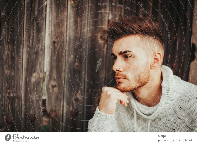 Attractive man Lifestyle Style Meditation House (Residential Structure) Human being Boy (child) Man Adults Fashion Beard Wood Old Think Cool (slang) Eroticism
