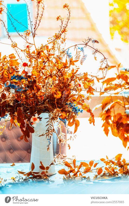 Flower Window Lifestyle Yellow Autumn Interior design Style Orange Living or residing Design Decoration Table Simple Bouquet Still Life