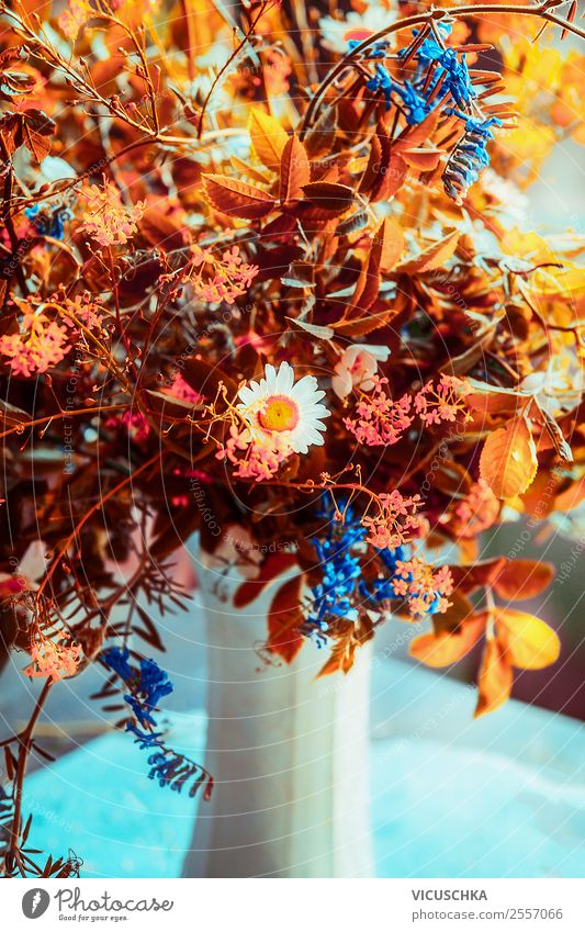 Flower Lifestyle Yellow Autumn Interior design Style Living or residing Design Decoration Simple Bouquet Still Life Autumnal Vase Arranged
