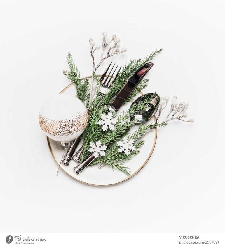 Plate with cutlery and christmas decoration on white Style Design Winter Table Christmas & Advent Decoration Ornament Tradition Christmas decoration