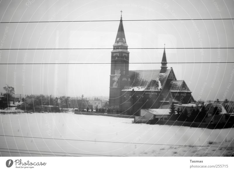 Winter Loneliness Cold Landscape Gray Building Sadness Church Gloomy Driving Manmade structures Fear of the future Homesickness Train travel Train compartment