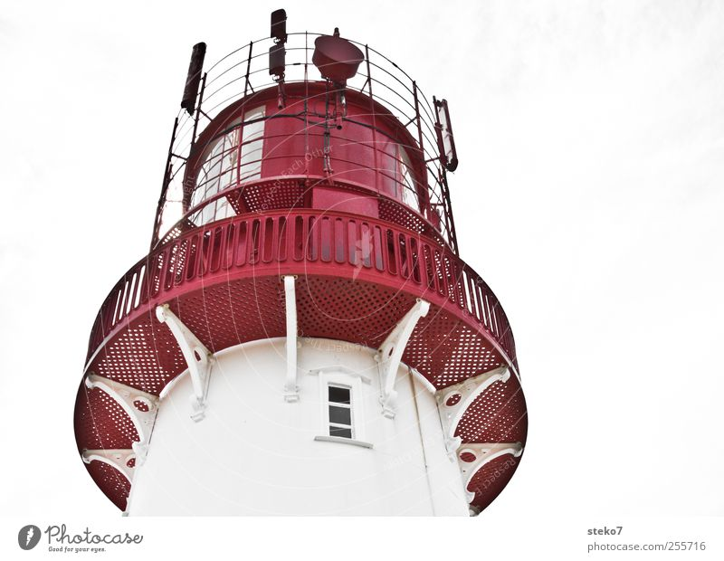 Little Red Riding Hood Lighthouse Facade Window Roof White Metal Handrail Antenna Subdued colour Exterior shot Deserted Copy Space right Upward