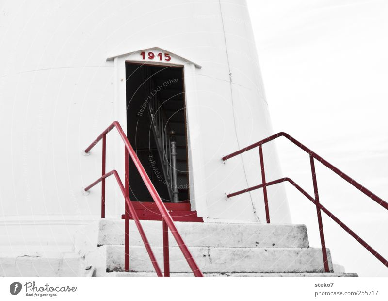 Old White Red Door Facade Open Stairs Historic Banister Lighthouse