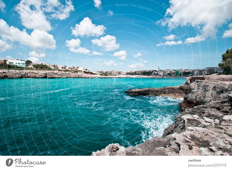 Postcard from Porto Christo Elements Air Water Sky Clouds Summer Beautiful weather Waves Coast Bay Esthetic Mediterranean sea Rock Cliff Turquoise Blue White