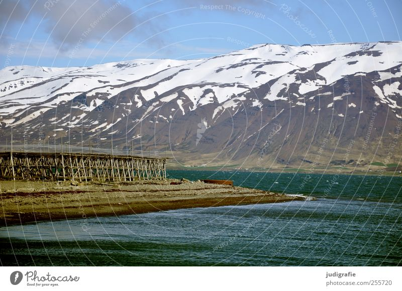 Nature Water Cold Environment Landscape Mountain Rock Natural Fantastic Beautiful weather Iceland Fishery Fjord Snowcapped peak Fishing village