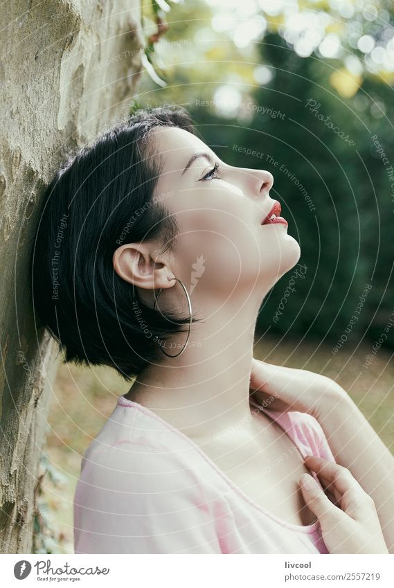 beauty in the park Woman Human being Nature Youth (Young adults) Summer Beautiful 18 - 30 years Lifestyle Adults Feminine Emotions Style Garden Fashion Head