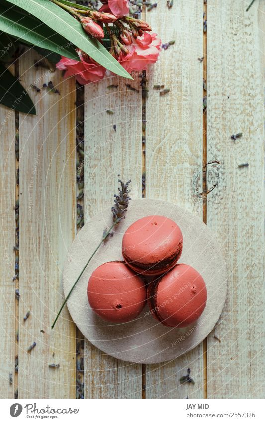 Pink macaroons, peach and lavender flavor Colour Wood Vantage point Table Coffee Delicious France Tradition Dessert Baked goods Top Sugar Snack Lavender