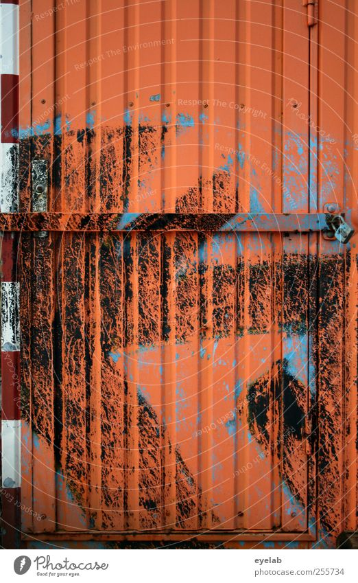 orange zest Wall (barrier) Wall (building) Facade Transport Road traffic Road sign Site trailer Sign Ornament Signs and labeling Graffiti Old Dirty Crazy