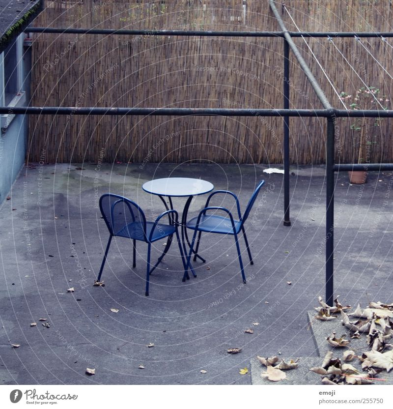 winter seat Terrace Concrete Chair Table Seating Dark Cold Gloomy Blue 2 Loneliness Winter Sparse Colour photo Subdued colour Exterior shot Deserted