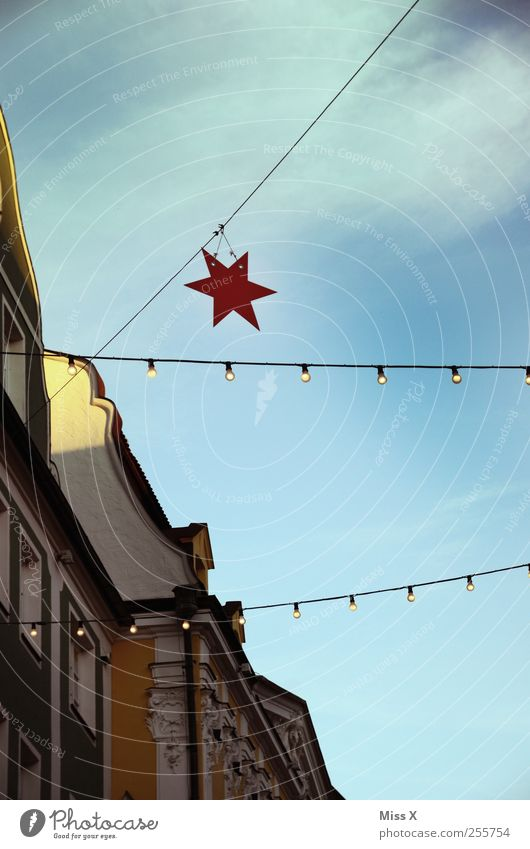 Christmas & Advent Lamp Feasts & Celebrations Facade Star (Symbol) Illuminate Downtown Electric bulb Old town Christmas decoration Christmas Fair Christmas star