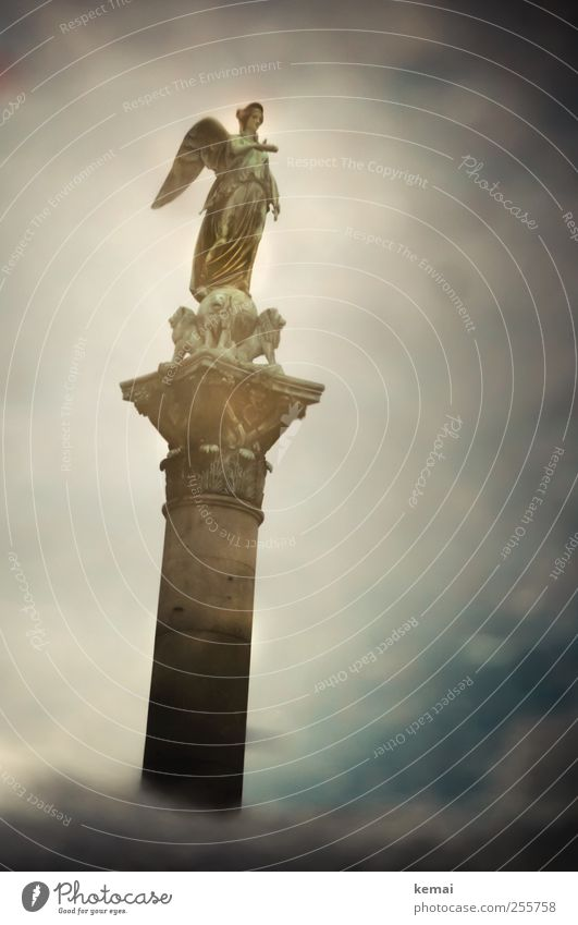 Come to me Art Work of art Sculpture Statue Water Sky Clouds Stuttgart Castle place Tourist Attraction Landmark Monument Old Exceptional Dark Indicate Angel