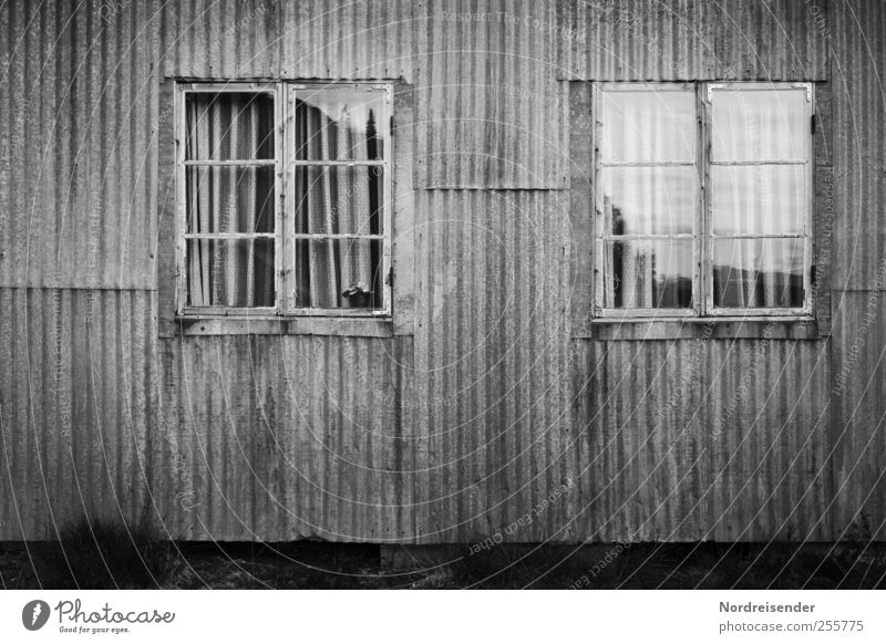 House (Residential Structure) Dark Window Architecture Building Sadness Metal Line Facade Poverty Broken Stripe Living or residing Creepy Hut Decline