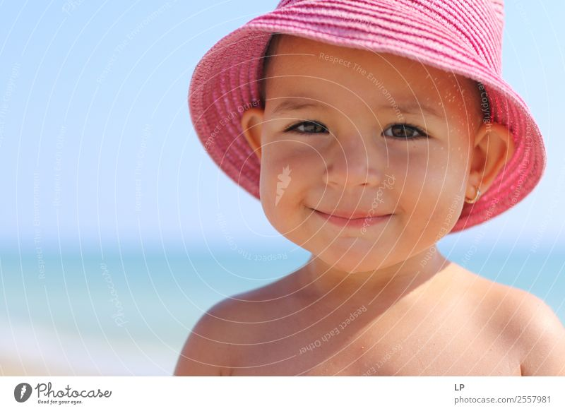 pink hat with a smile Lifestyle Style Joy Beautiful Vacation & Travel Freedom Summer Summer vacation Sunbathing Mother's Day Parenting Education Kindergarten