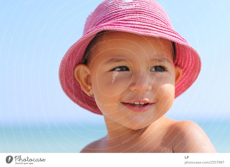 smiling baby with a pink hat Lifestyle Elegant Style Joy Beautiful Wellness Calm Leisure and hobbies Mother's Day Parenting Education Human being Child Baby
