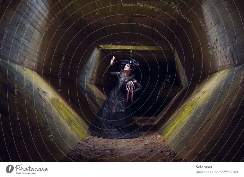 doll Hallowe'en Human being Feminine Woman Adults 1 Tunnel Manmade structures Building Architecture Creepy Gothic style Dress up Colour photo Exterior shot