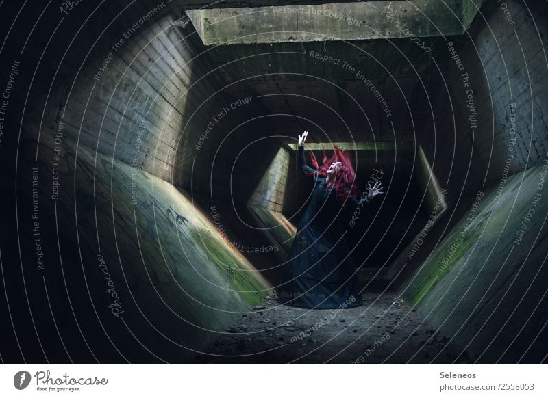 the tunnel of horror Hallowe'en Human being Feminine Woman Adults 1 Tunnel Manmade structures Building Dark Creepy Vampire Dress up Fear Colour photo