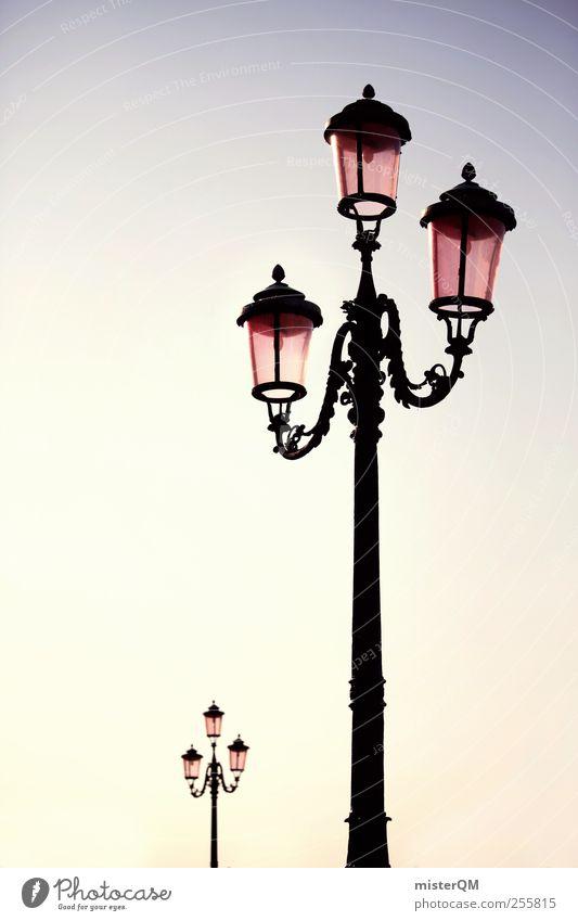 A light comes on. Esthetic Lantern Light Lamp post Street lighting 2 Morning Cast iron Ornate Splendid Colour photo Exterior shot Detail Deserted