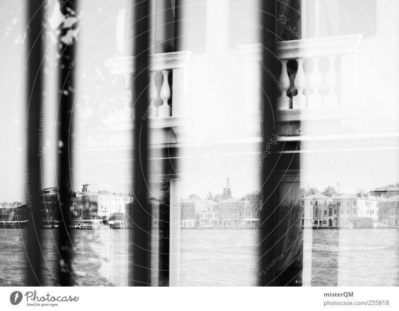 Black Reflection. Esthetic Window Venice Balcony Skyline City trip Perspective Black & white photo Exterior shot Close-up Detail Abstract Deserted