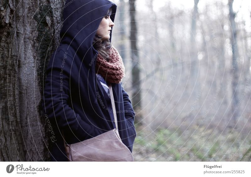 The forest listens to you Young woman Youth (Young adults) 1 Human being Looking Hooded (clothing) Protection Safe haven Forest Calm Think Bag Scarf Cold Autumn