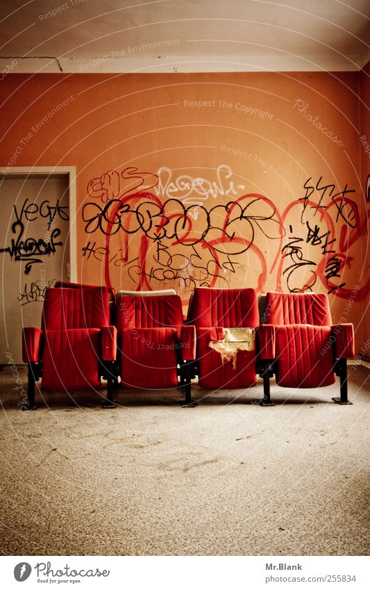 Old Red House (Residential Structure) Wall (building) Graffiti Room Flat (apartment) Interior design Broken Furniture Destruction Redecorate Armchair