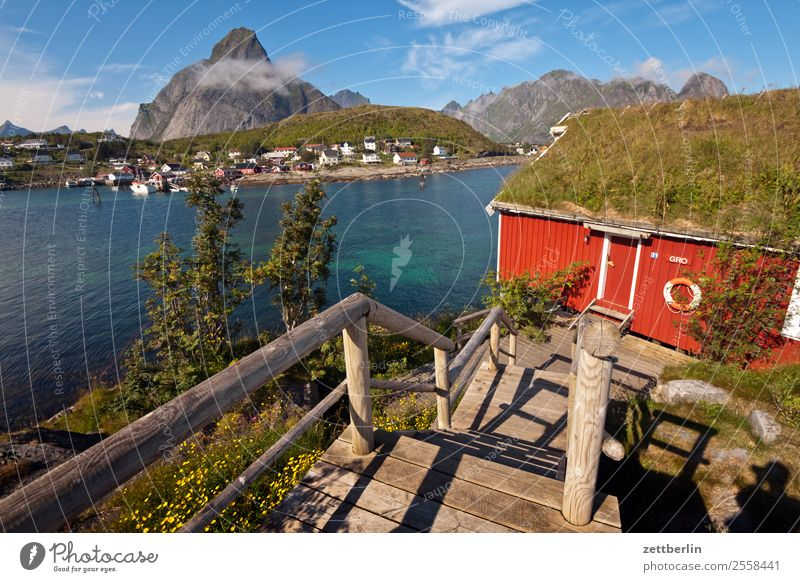 Sky Nature Vacation & Travel Heaven Water Landscape Red Ocean House (Residential Structure) Clouds Mountain Travel photography Tourism Copy Space Rock Horizon