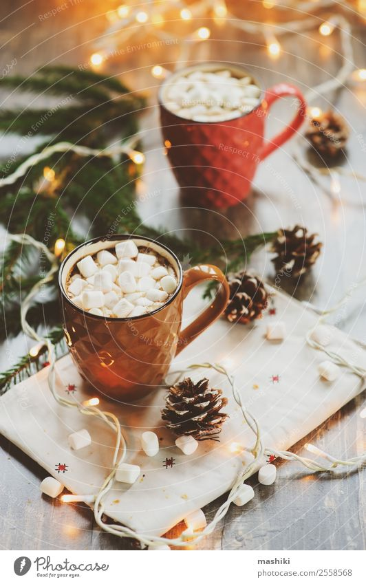 two mugs of hot cocoa with marshmallows Croissant Dessert Hot Chocolate Coffee Winter Decoration Table New Year's Eve Couple Warmth Wood Safety (feeling of)