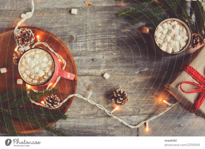top view of hot cocoa with marshmallows Dessert Hot Chocolate Coffee Winter Decoration Table New Year's Eve Couple Warmth Wood Safety (feeling of) Tradition