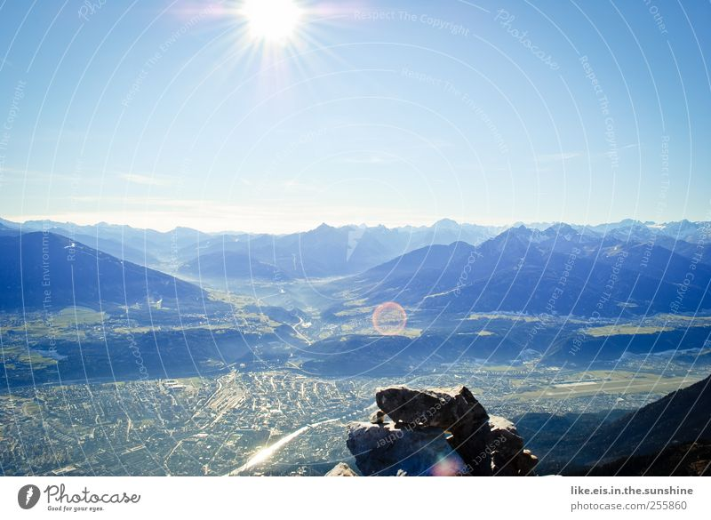 Good morning, innsbruck! Relaxation Calm Far-off places Freedom Mountain Landscape Cloudless sky Sun Autumn Beautiful weather Hill Rock Alps Peak
