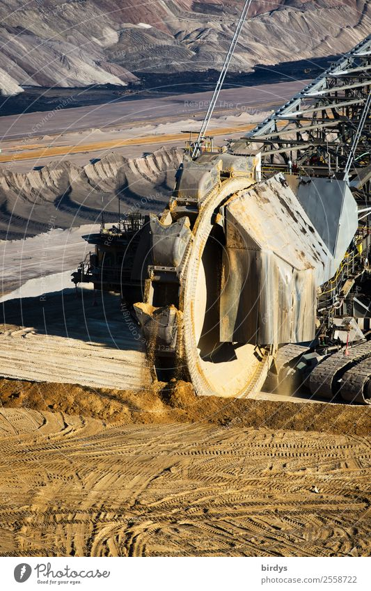 Bucket wheel excavator open cast mine Garzweiler Energy industry Mining Coal power station Soft coal dredger Earth Work and employment Aggression Authentic