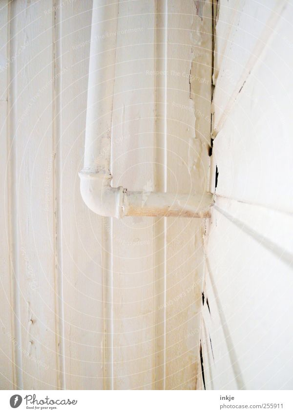 three colours white (1) Living or residing Redecorate Room Wooden facade Construction site Facade Water pipe Metal Line Stripe Old Broken Above White Colour