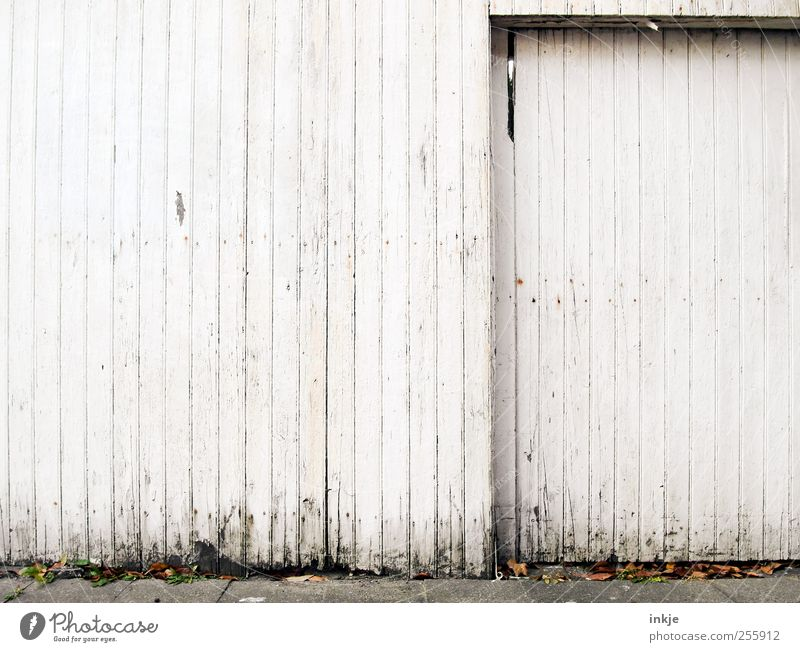 three colours white (2) Living or residing House (Residential Structure) Outskirts Deserted Gate Wall (barrier) Wall (building) Facade Door Garage door